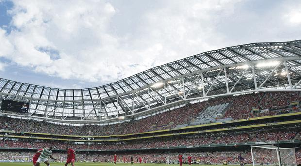 Celtic, seen here playing Liverpool in a glamour friendly at the Aviva in the close season, are exploring the possibility of using the stadium as their base for European games next season