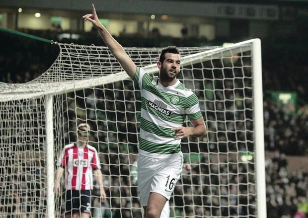 Celtic's Joe Ledley celebrates his goal at Parkhead