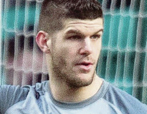 Celtic goalkeeper Fraser Forster on way to breaking Celtic record of clean sheets during the Scottish Premier League match at Celtic Park, Glasgow