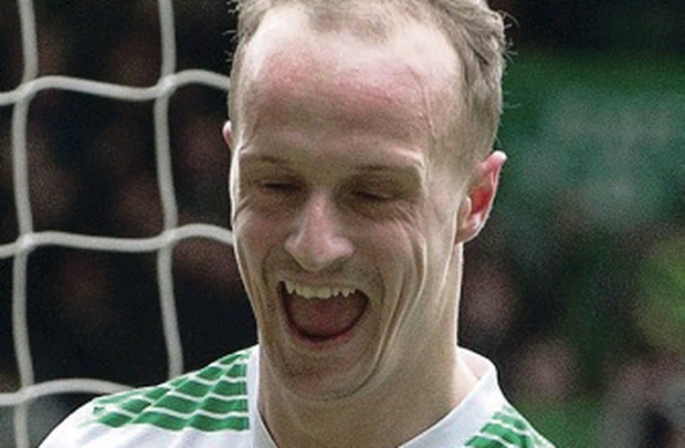 Celtic's Leigh Griffiths celebrates his goal during the Scottish Premiership match at Celtic Park, Glasgow