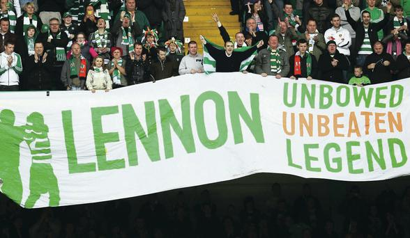 Fan favourite: Neil Lennon has always been popular amongst the Celtic support, both during his time as a player and his time in charge of the Bhoys