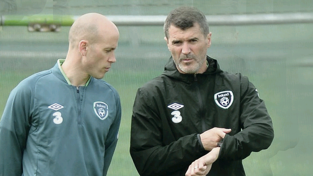 Roy Keane in training yesterday