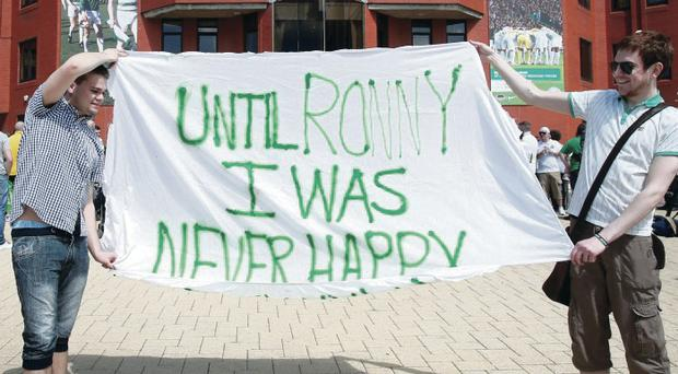 You'll do Ron: Celtic fans seem to approve of the appointment of Ronny Deila as manager if this banner is anything to go by