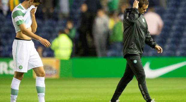 Celtic's Nir Bitton and manager Ronny Deila after the Champions League Qualifying defeat at Murrayfield