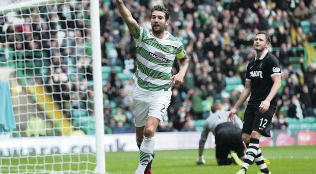 That's my goal: Charlie Mulgrew claims scoring Celtic's fourth in the thrashing of Dundee United at Parkhead
