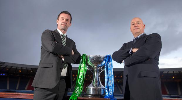 Celtic manager Ronny Deila (left) and Rangers manager Kenny McDowall