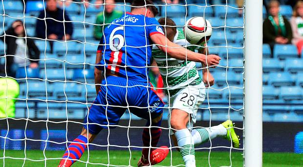 Officials missed a clear handball by Josh Meekings a yard off his own goal line as Leigh Griffiths looked to head home