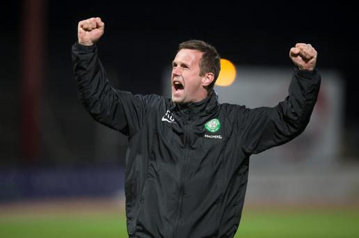 Celtic manager Ronny Deila celebrates following the Scottish Premiership match at Tannadice Park