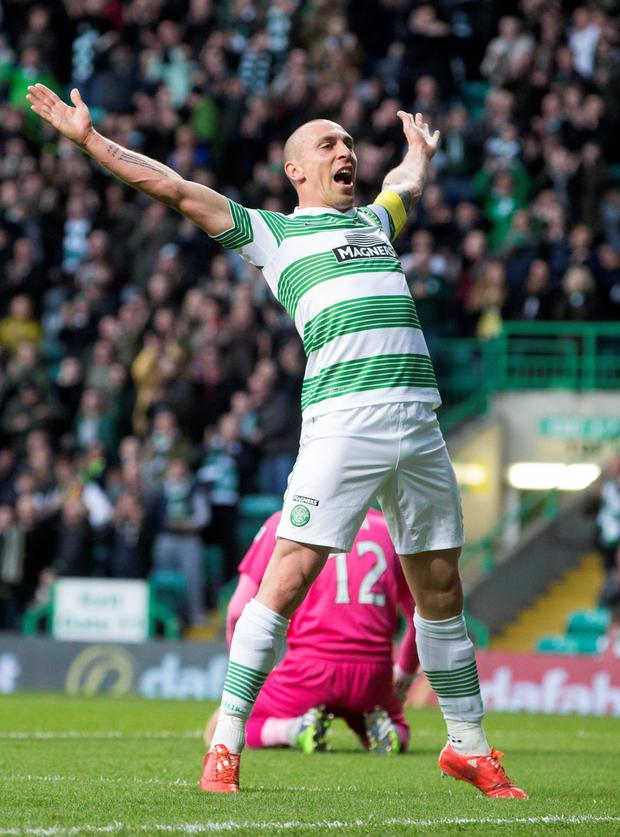 Celtic's Scott Brown celebrates after scoring his side's second goal