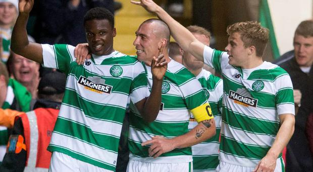 Celtic's Dedryck Boyata celebrates scoring his sides only goal during the UEFA Champions League third round qualifying match at Celtic Park