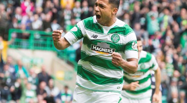 Glory Bhoy: Emilio Izaguirre scored twice for Celtic in their 6-0 win