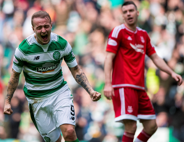 Head Bhoy: Leigh Griffiths celebrates after scoring against Aberdeen during Celtic's 3-1 win