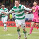 Victory roar: Callum McGregor shows his delight after finding the net against Partick