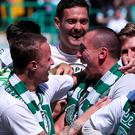 Glory Bhoys: Celtic celebrate their fifth league title in a row
