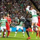 Head Bhoy: Celtic ace Moussa Dembele nets just three minutes after coming on against Hapoel Be'er Sheva