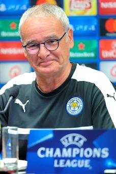 Keeping cool: Claudio Ranieri faces the media in Bruges yesterday