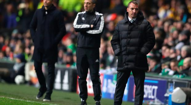 Upbeat: Brendan Rodgers (right) was happy with Celtic's display