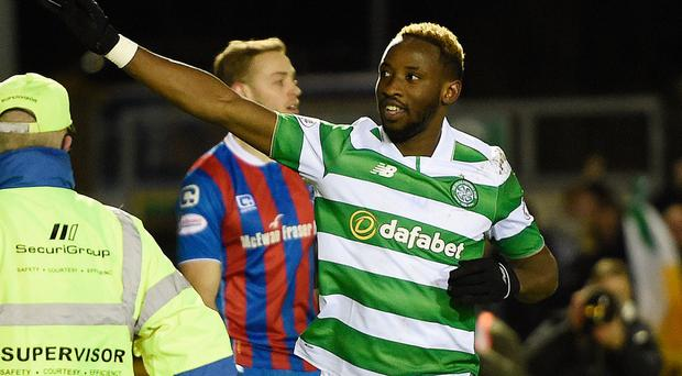 Celtic's Moussa Dembele celebrates scoring his side's fourth goal of the game