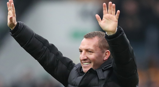Ready to party: Brendan Rodgers is hoping to see his Bhoys begin the title celebrations