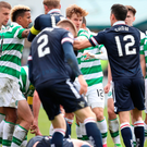 Flashpoint: Tempers flare as players from both sides clash during heated exchanges late in the game at Dingwall