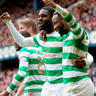 Odsonne Edouard celebrates his sensational Ibrox winner with fellow Celtic scorer Moussa Dembele.