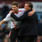 Familiar foes: Steven Gerrard and Brendan Rodgers could square up in next season's title race