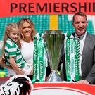 Just champion:c Brendan Rodgers with his wife Charlotte and their daughter Lola as they celebrate Celtic winning the Ladbrokes Scottish Premier League