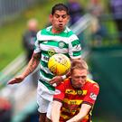 Heads up: Cristian Gamboa vies with Partick's Chris Erskine