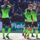 Setback: Celtic trio Dedryck Boyata, Callum McGregor and Ryan Christie show their frustration