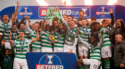 Glory Bhoys: Celtic celebrate with the Betfred Cup at Hampden