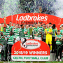 Just champion: Celtic players and officials celebrate with the Premiership trophy at Parkhead yesterday