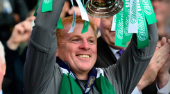Treble ahead: Neil Lennon beams with pride as he raises the Scottish Cup