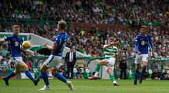 Mine's a treble: hat-trick hero Ryan Christie fires in Celtic's second goal