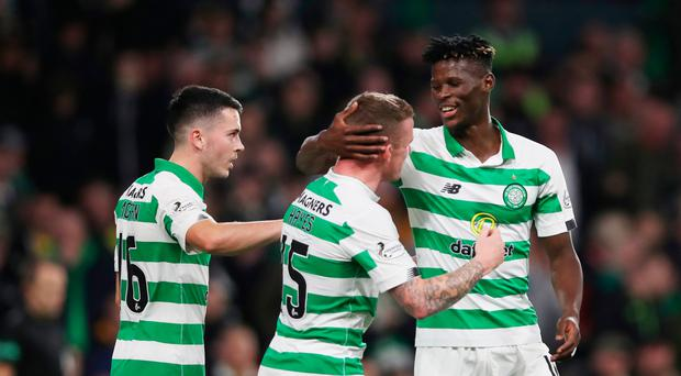 Breakthrough moment: Vakoun Bayo takes the acclaim after opening the scoring for Celtic