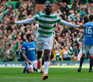 Double trouble: Odsonne Edouard celebrates his second goal in Celtic's emphatic win over Rangers