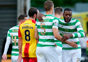 Net gains: Olivier Ntcham celebrates his winning goal