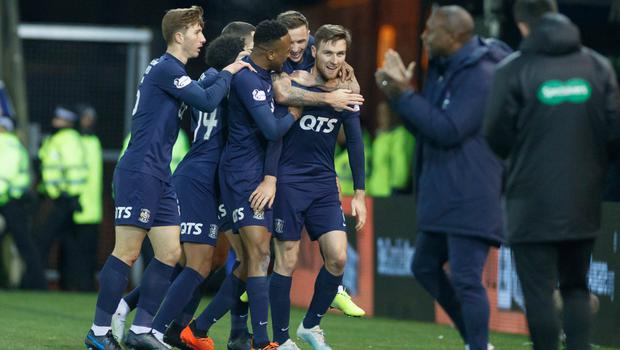 All square: Stephen O'Donnell is congratulated after drawing Kilmarnock level on their way to beating Rangers