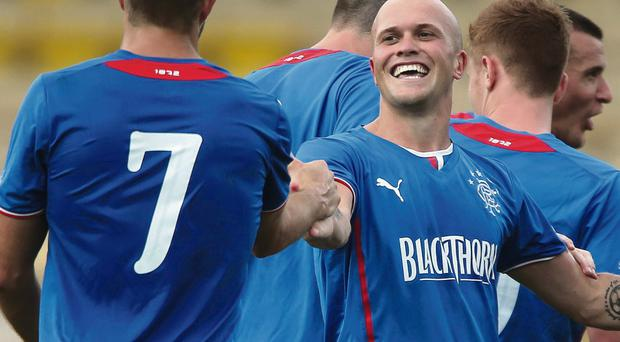 Double strike: Nicky Law scored twice on his debut for Rangers in their 4-0 win over Albion Rovers in the Ramsdens Cup