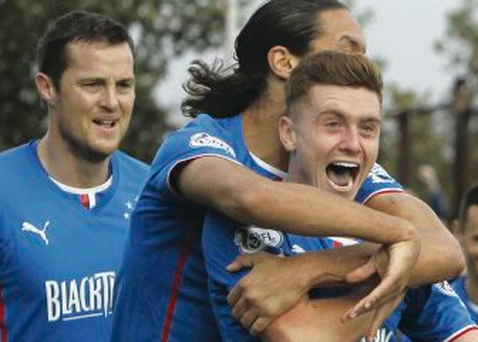 On target: Lewis Macleod scored the second goal for Rangers