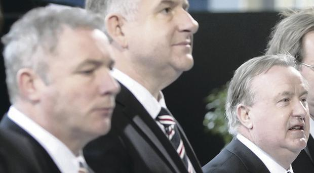 Talking terms: Rangers manager Ally McCoist, chief executive Graham Wallace and chairman David Somers at the AGM