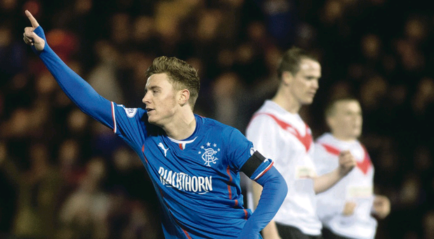 Rangers ace Lewis Macleod celebrates after hitting his winner last night