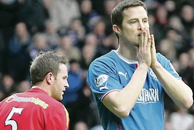 Rangers Jon Daly reacts during the William Hill Scottish Cup Quarter Final match at Ibrox Stadium, Glasgow