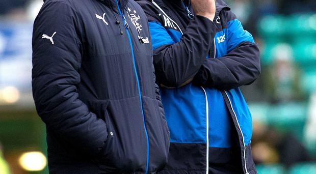 Work cut out: Rangers manager Kenny McDowall (right) and assistant manager Gordon Durie watch their side taste defeat