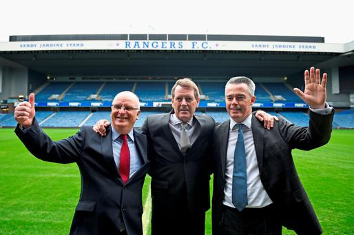 Back on board: (from left) John Gilligan, Dave King and Paul Murray at Ibrox