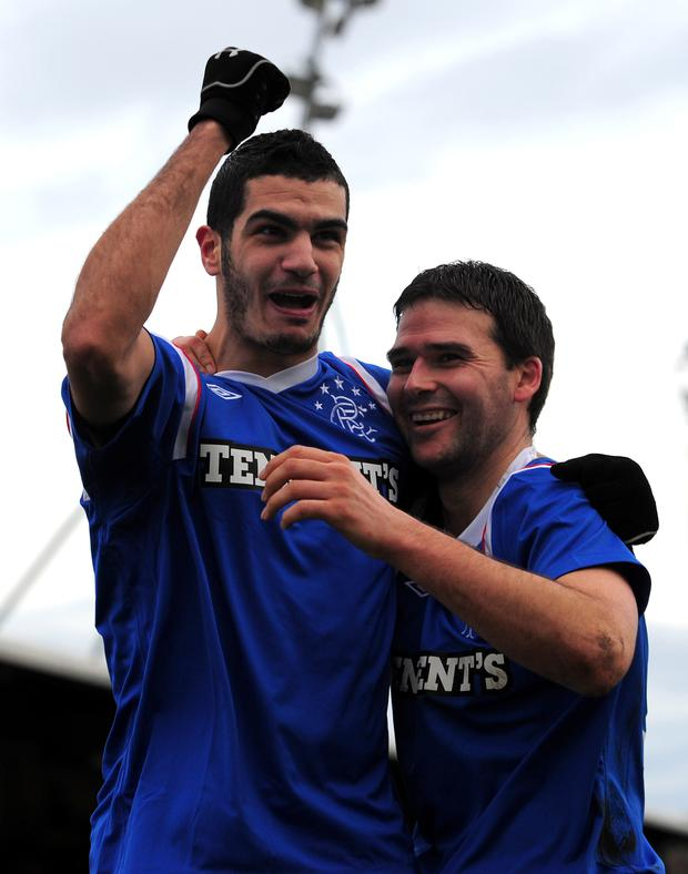 Happy days: David Healy with Salim Kerkar in 2012