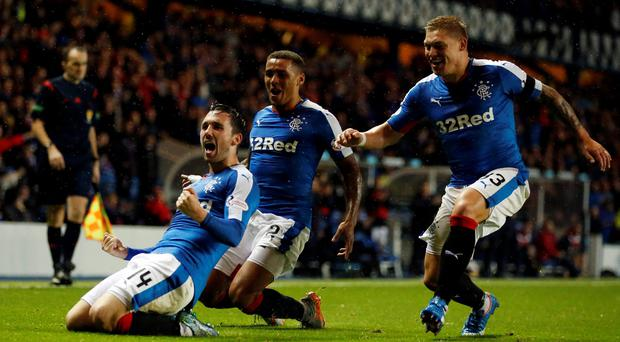 Rangers' Nicky Clark celebrates scoring his sides first goal