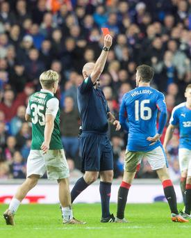 Rangers' Andy Halliday is sent off for headbutting Hibernian's Fraser Fyvie