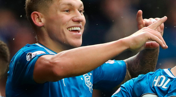 Pick it out: Martyn Waghorn celebrates Rangers' winner at Ibrox