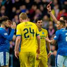 Shock: Rob Kiernan reacts with dismay after his controversial sending-off