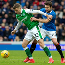Eyes on the ball: Rangers' Russell Martin jostles with Florian Kamberi